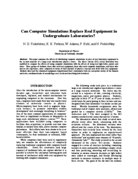 Can Computer Simulations Replace Real Equipment in Undergraduate Laboratories?