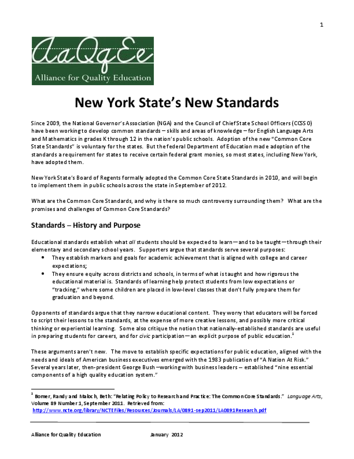 New York State's New Standards
