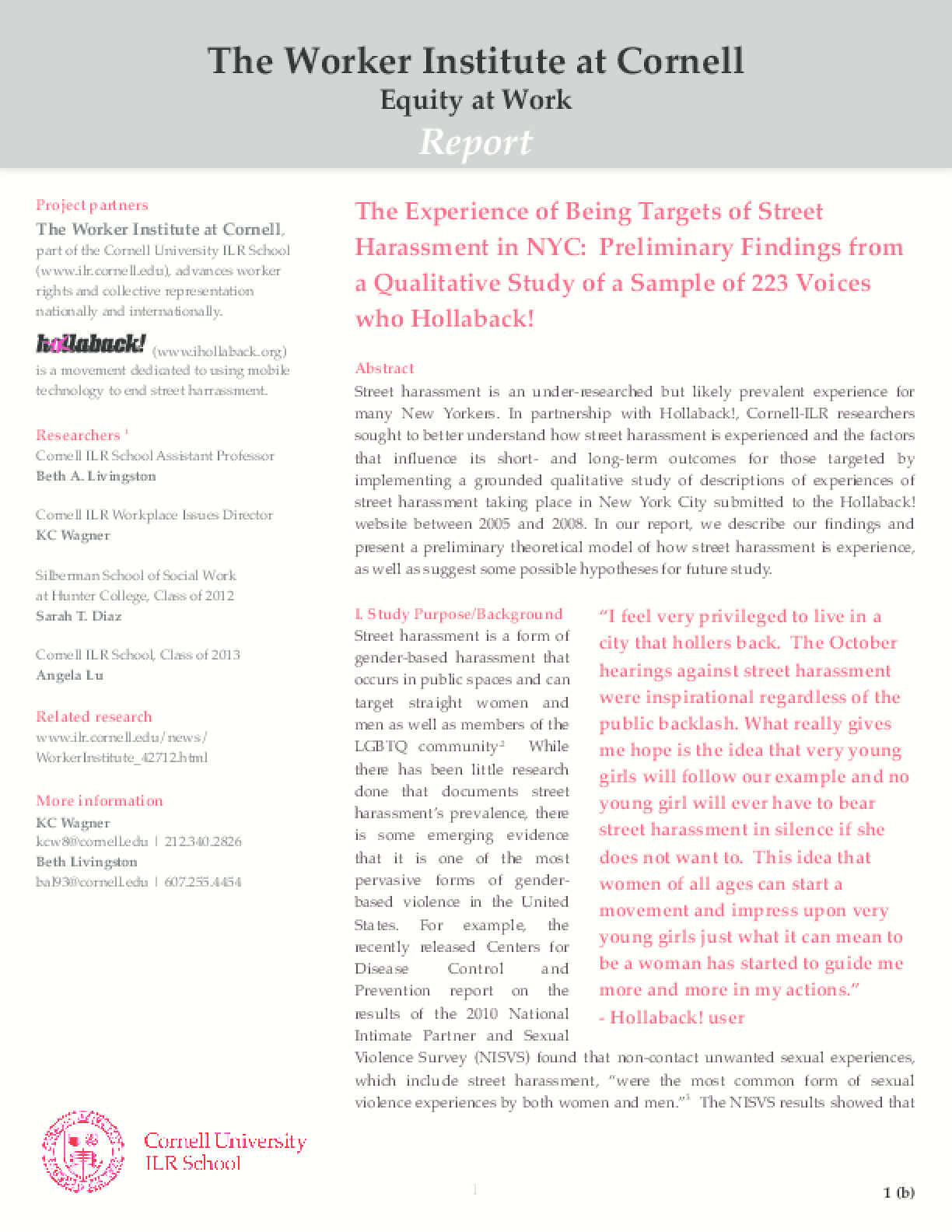 The Experience of Being Targets of Street Harassment in NYC: Preliminary Findings from a Qualitative Study Sample of 223 Voices who Hollaback!