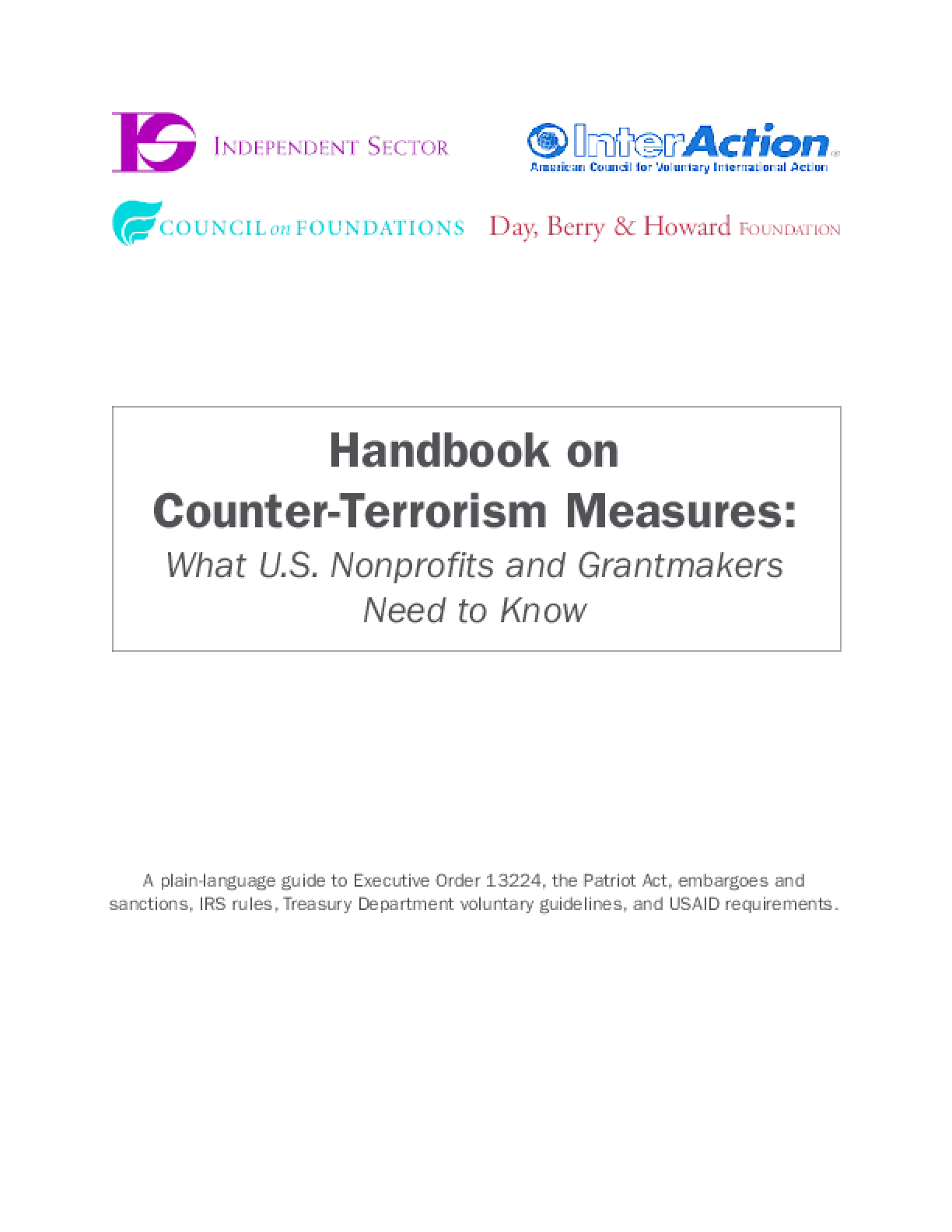 Handbook On Counter-Terrorism Measures: What U.S. Nonprofits and Grantmakers Need to Know