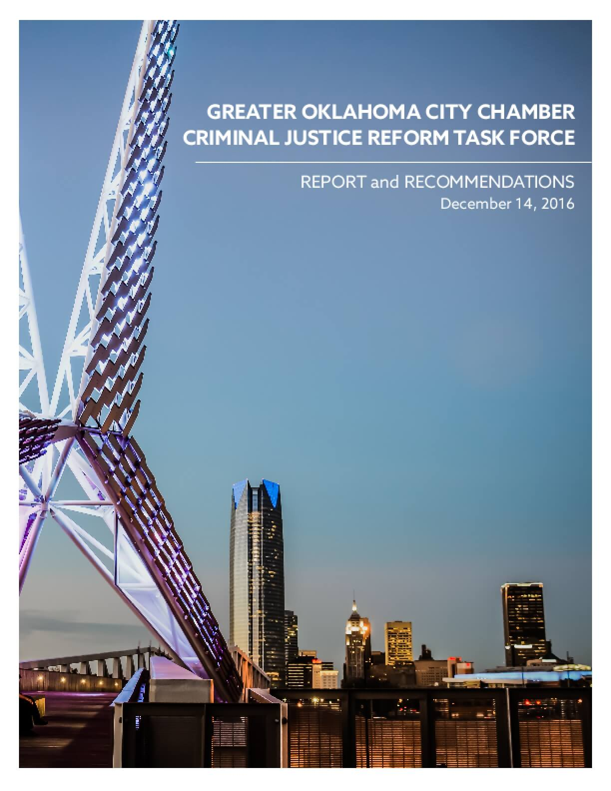 Greater Oklahoma City Chamber Criminal Justice Reform Task Force: Report and Recommendations