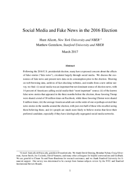 Social Media and Fake News in the 2016 Election
