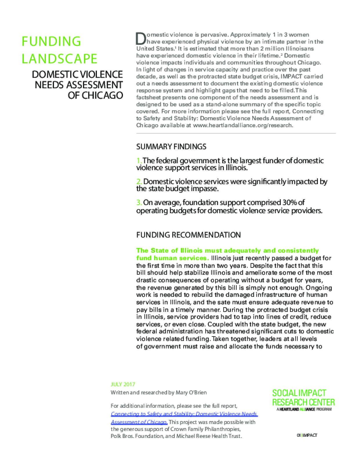 Factsheet: Funding Landscape (DV Landscape)