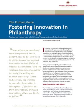 Fostering Innovation in Philanthropy