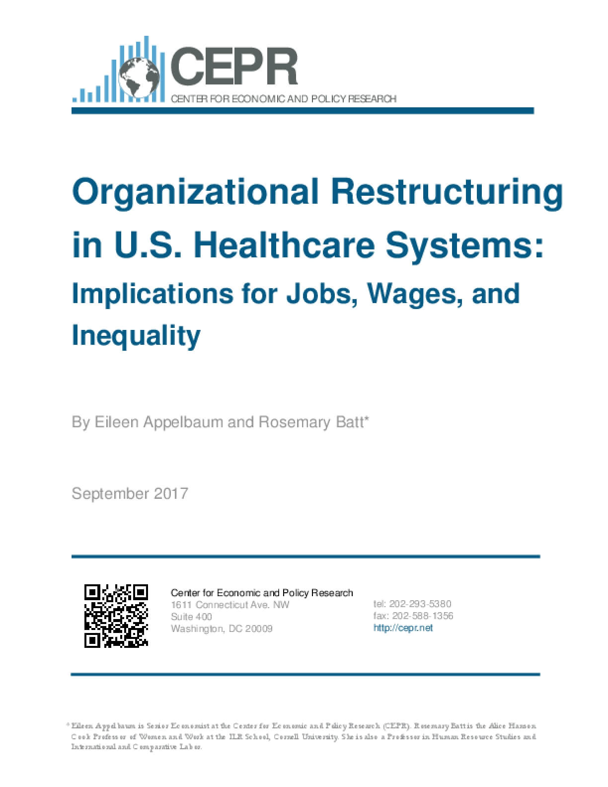 Organizational Restructuring in US Healthcare Systems: Implications for Jobs, Wages, and Inequality