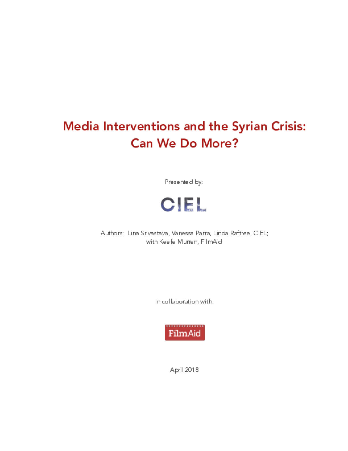 Media Interventions and the Syrian Crisis: Can We Do More?
