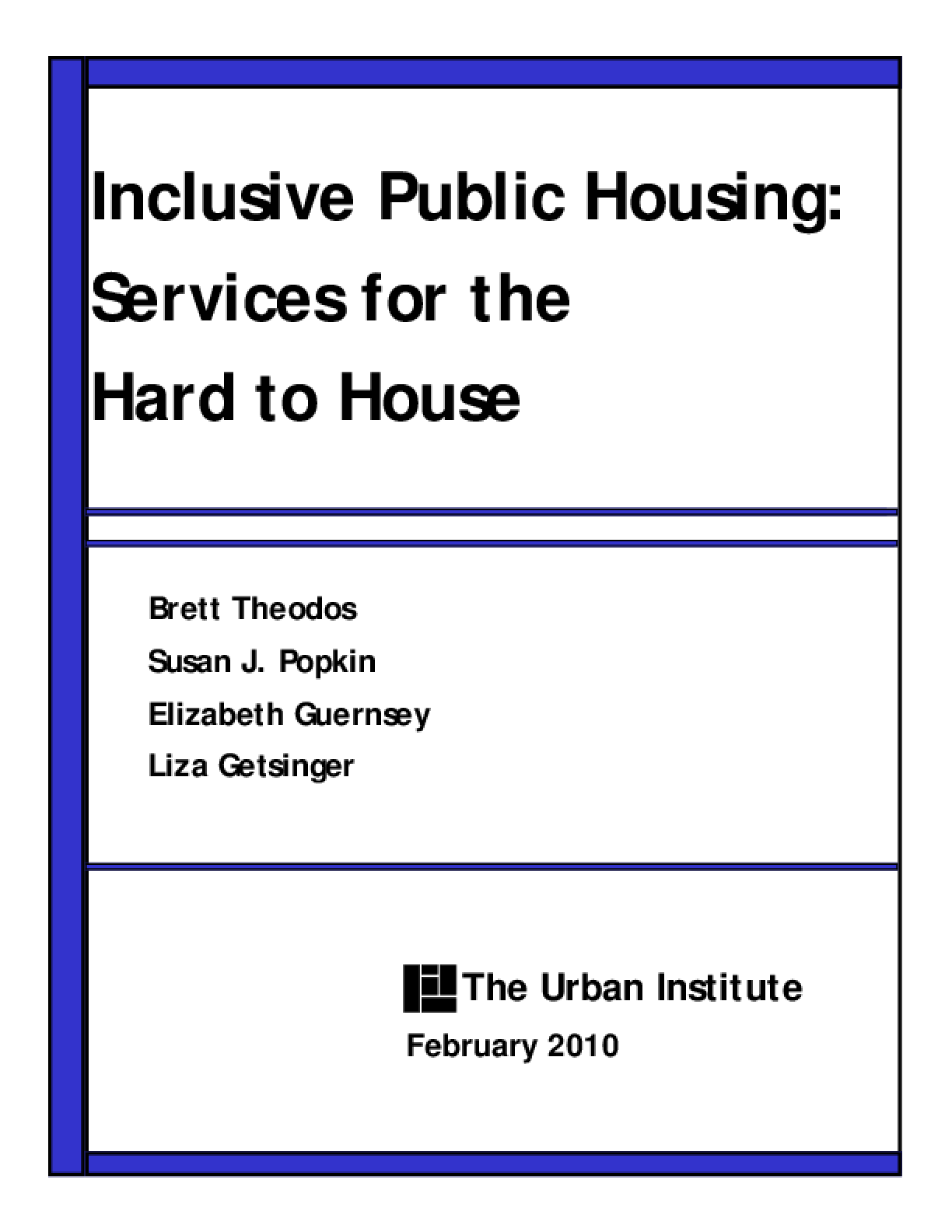 Inclusive Public Housing: Services for the Hard to House