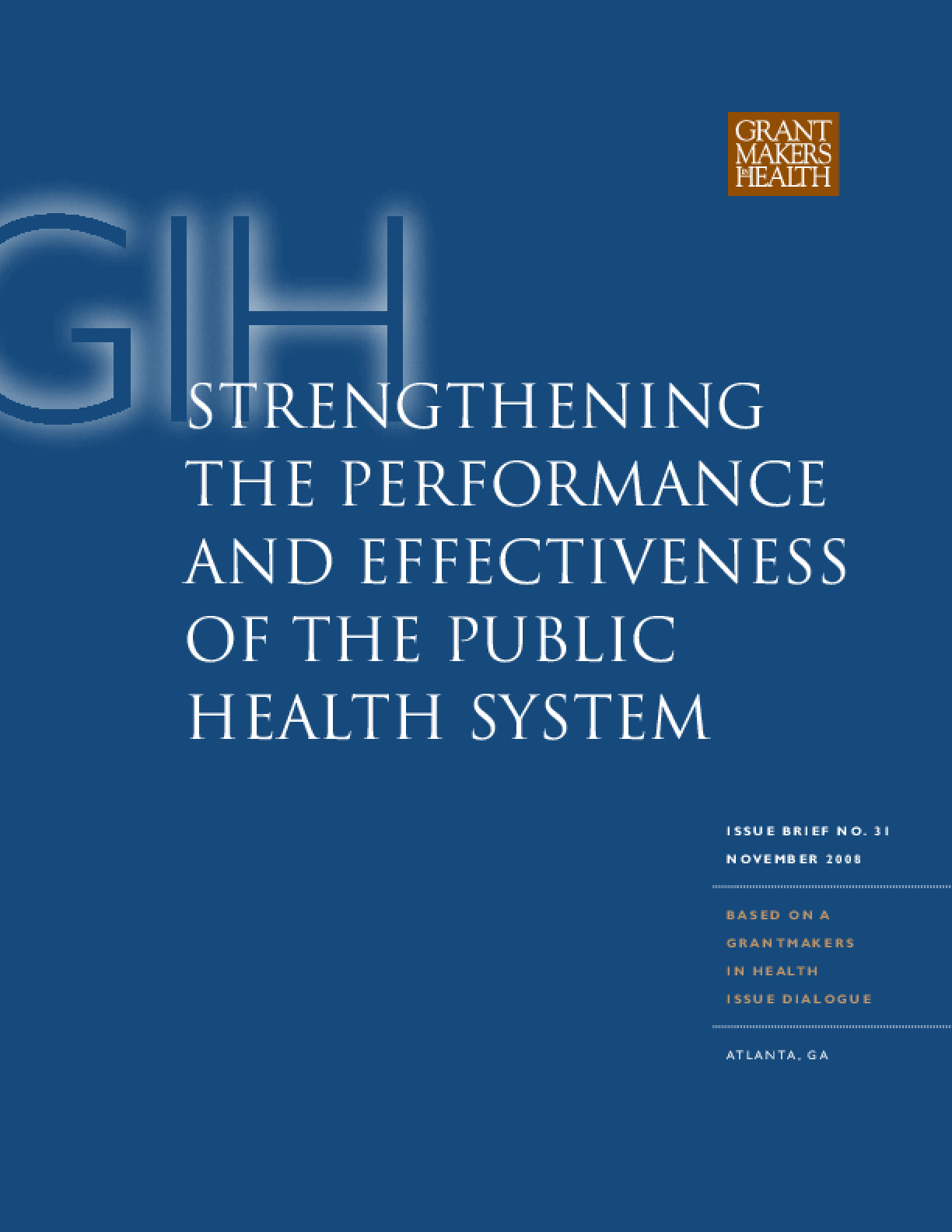 Strengthening the Performance and Effectiveness of the Public Health System