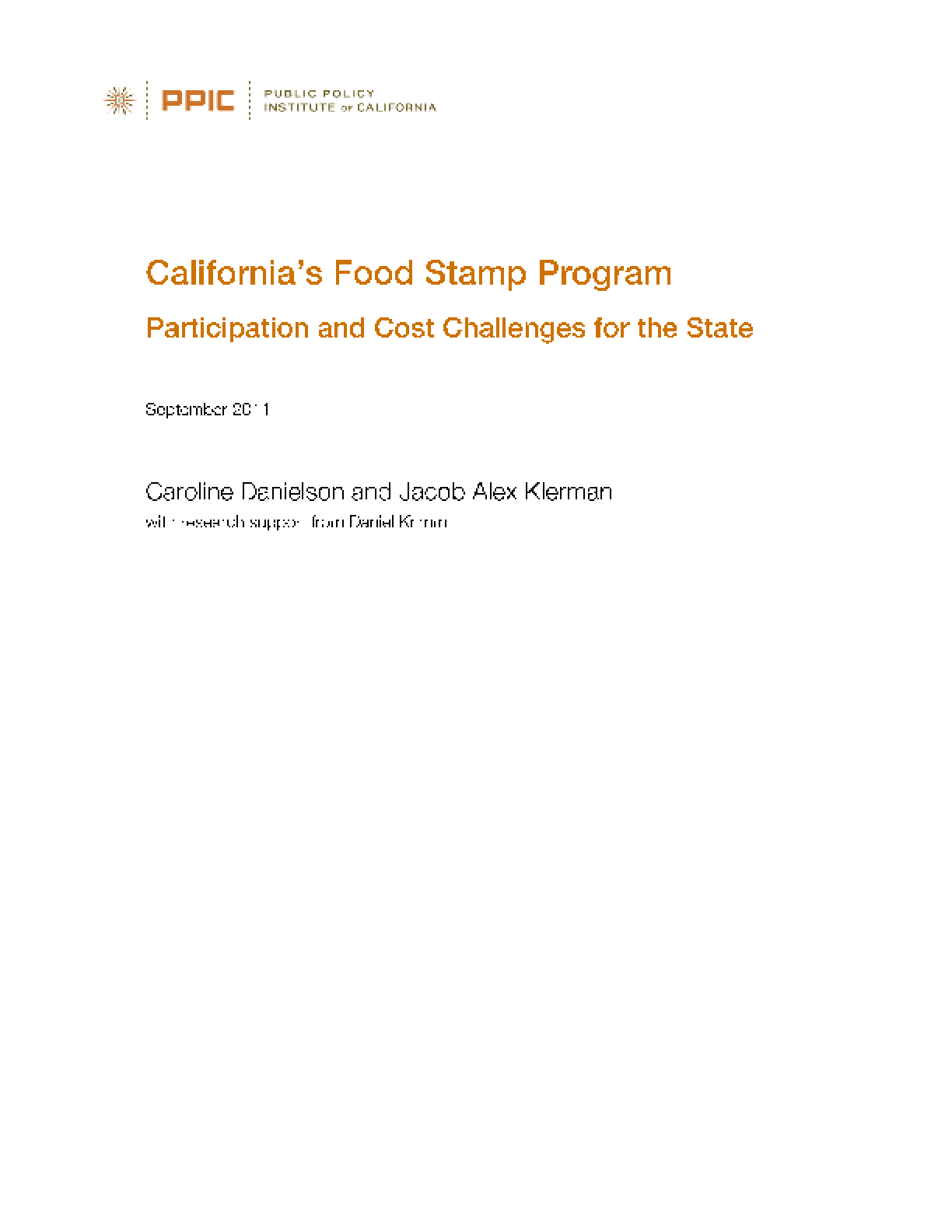 California's Food Stamp Program: Participation and Cost Challenges for the State