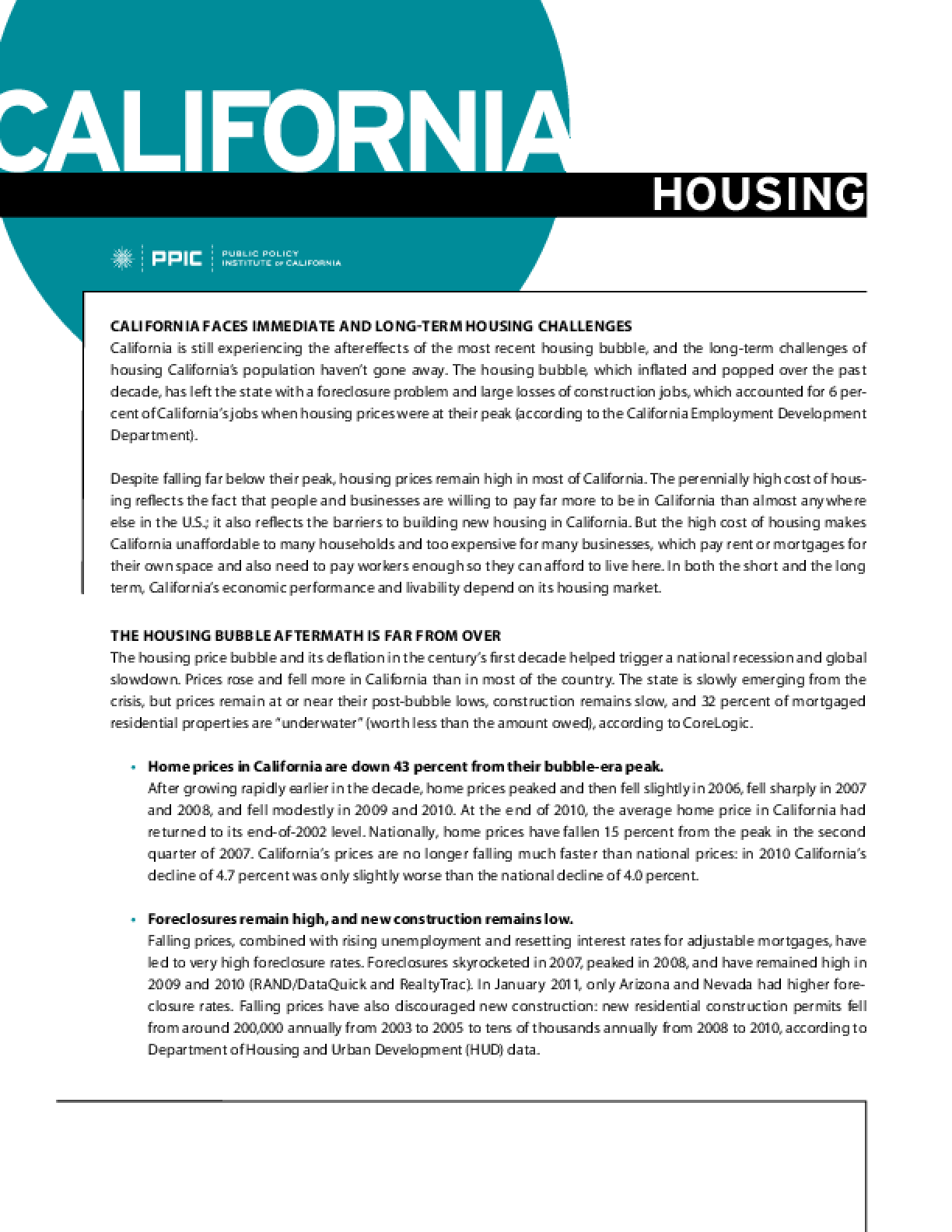 California Housing: Planning for a Better Future