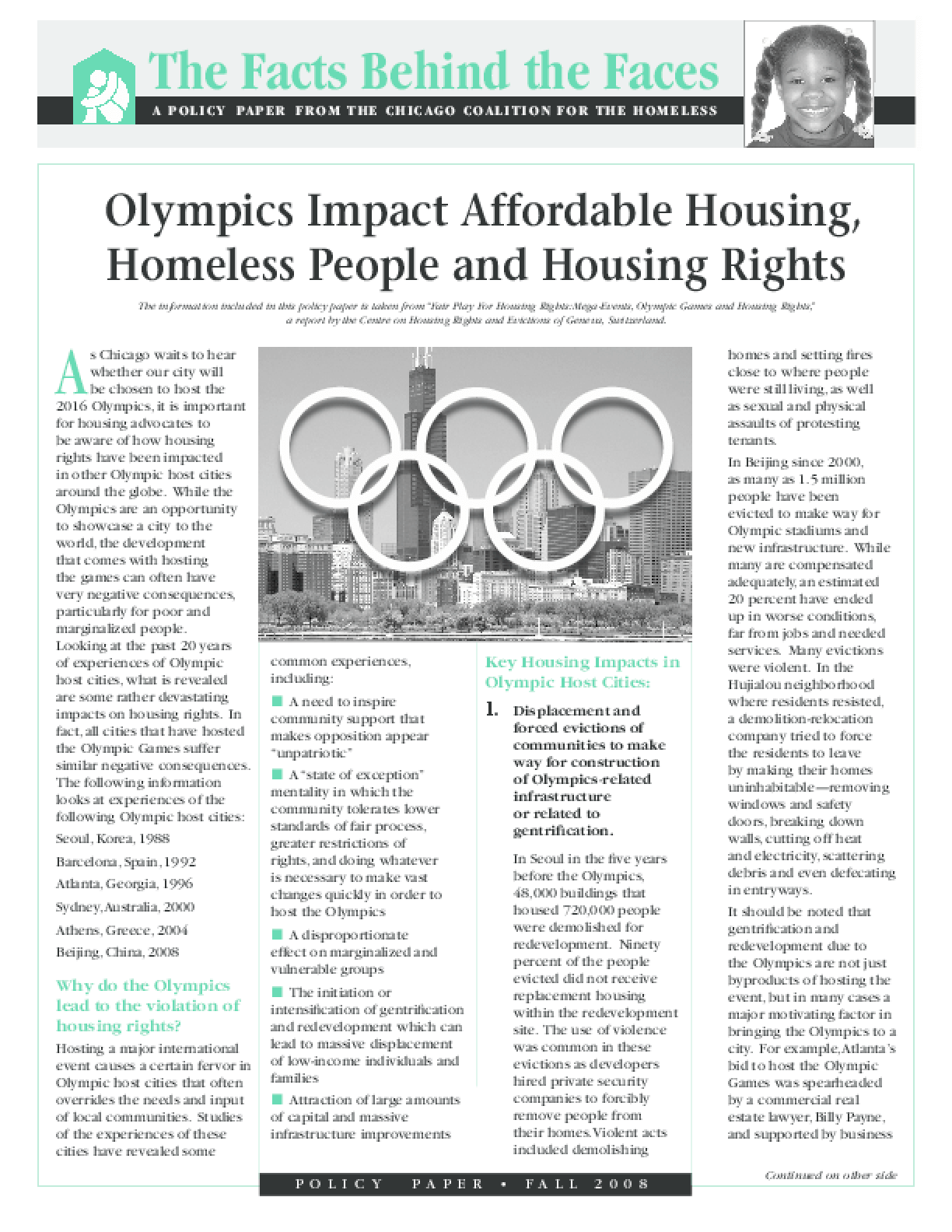 Olympics Impact Affordable Housing, Homeless People and Housing Rights