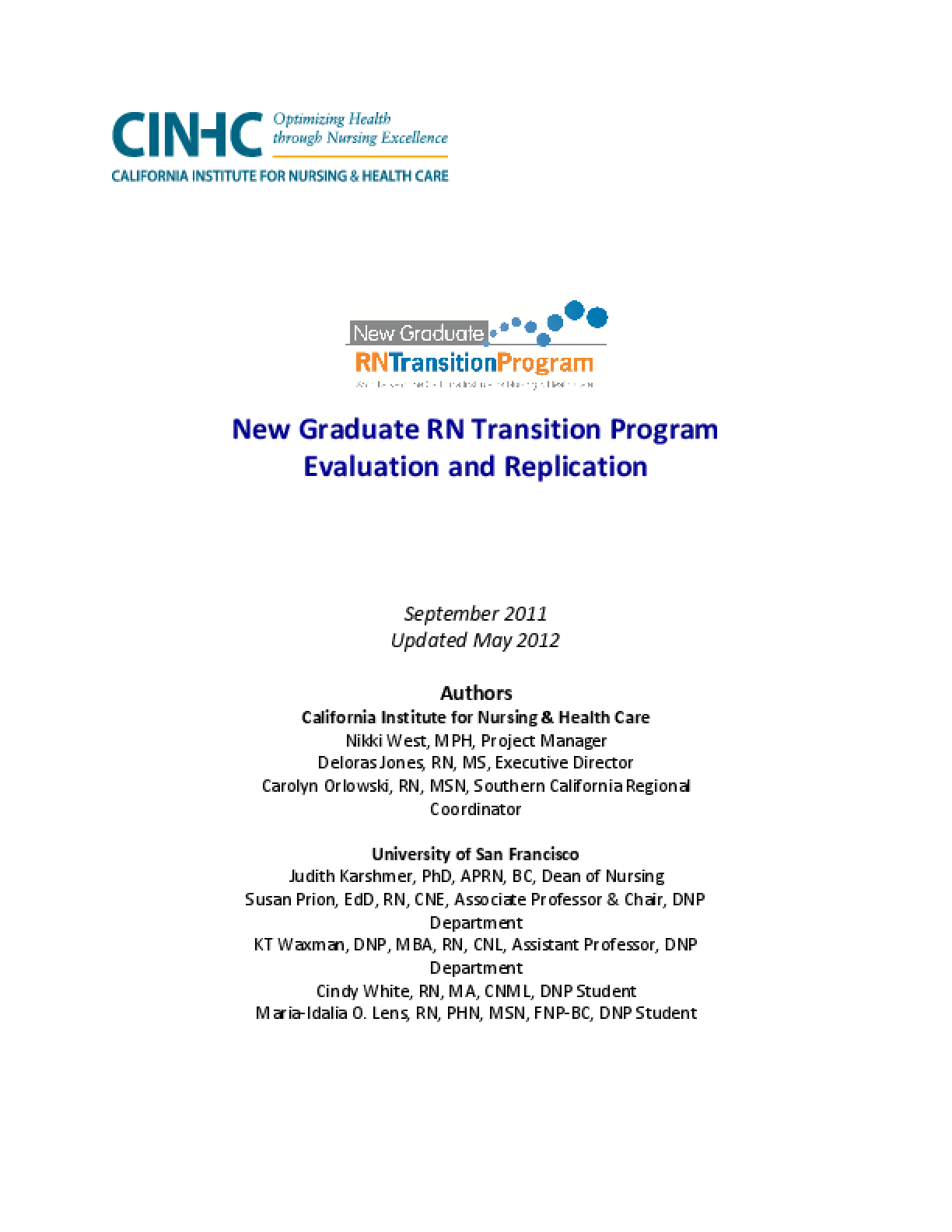 New Graduate RN Transition Program Evaluation and Replication