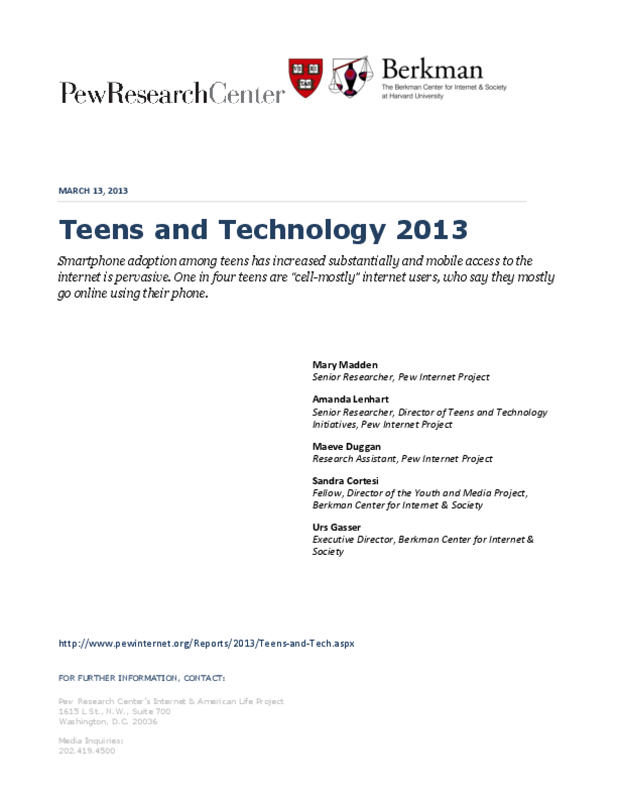 Teens and Technology 2013