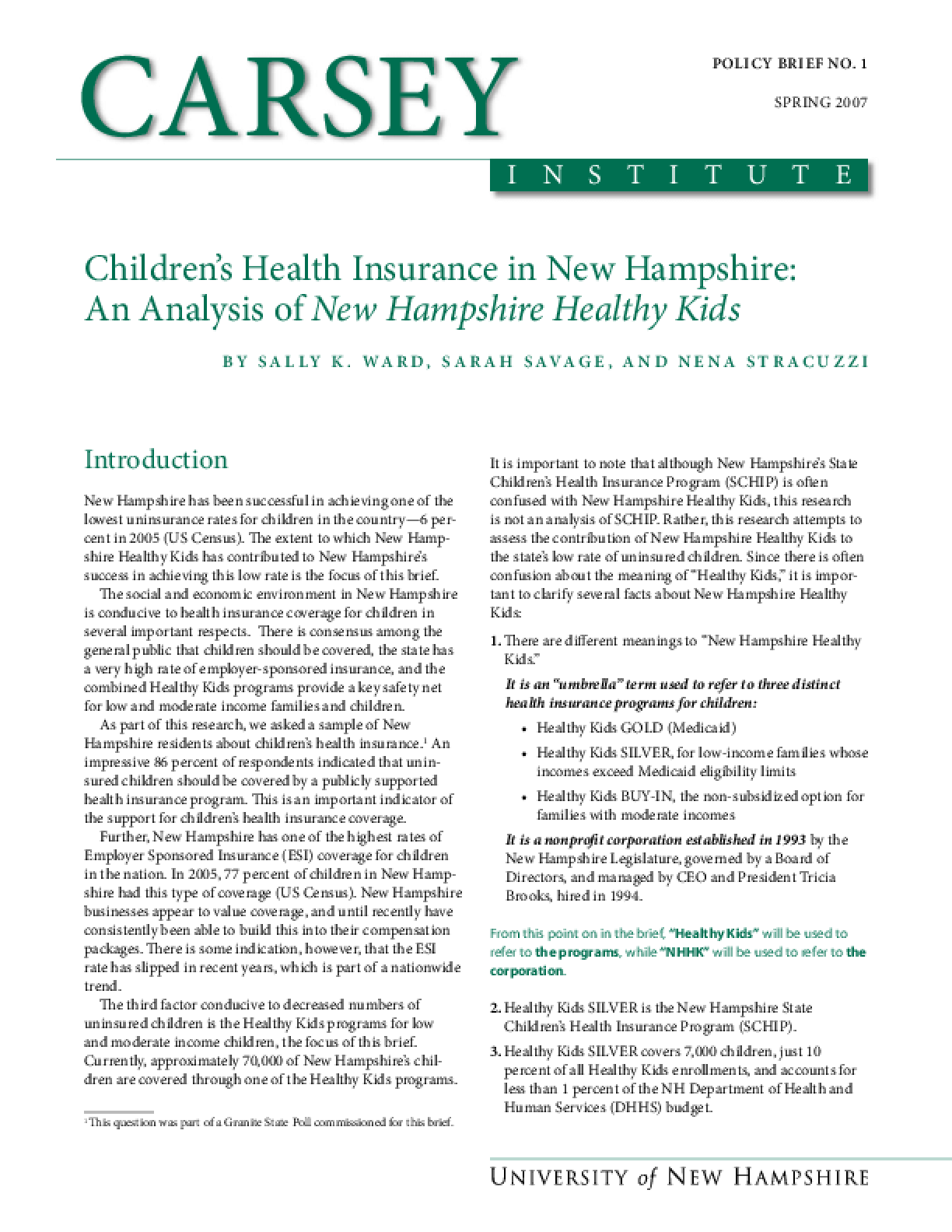 Children's Health Insurance in New Hampshire: An Analysis of New Hampshire Healthy Kids