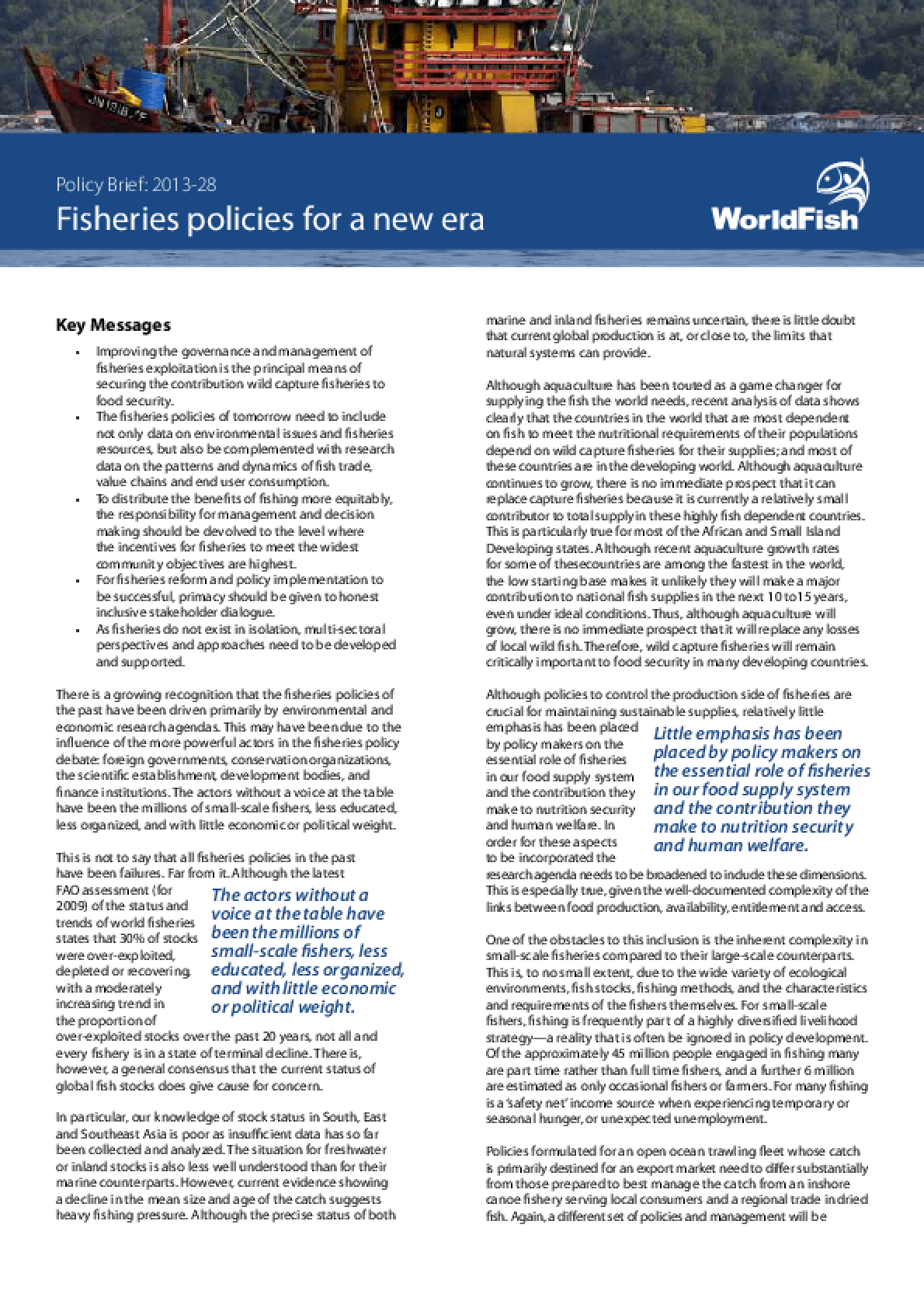 Fisheries policies for a new era