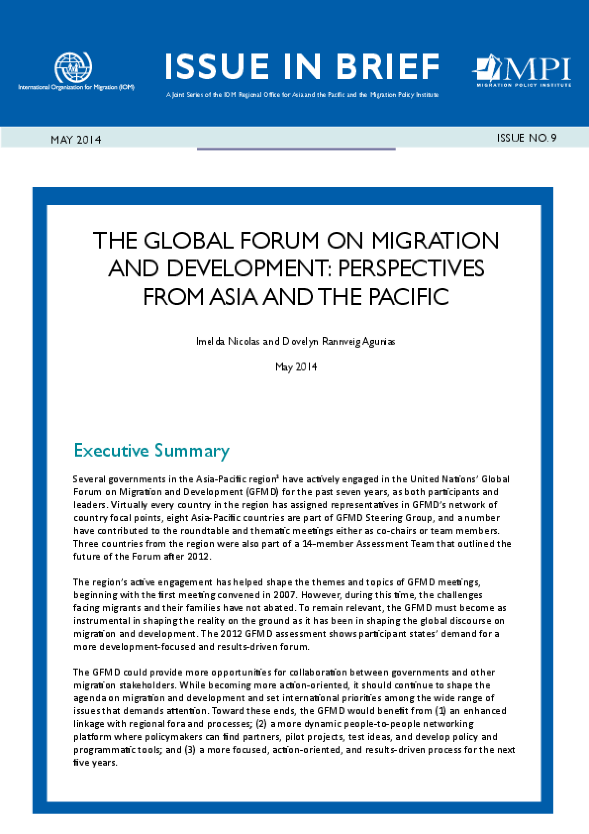 The Global Forum on Migration and Development: Perspectives from Asia and the Pacific