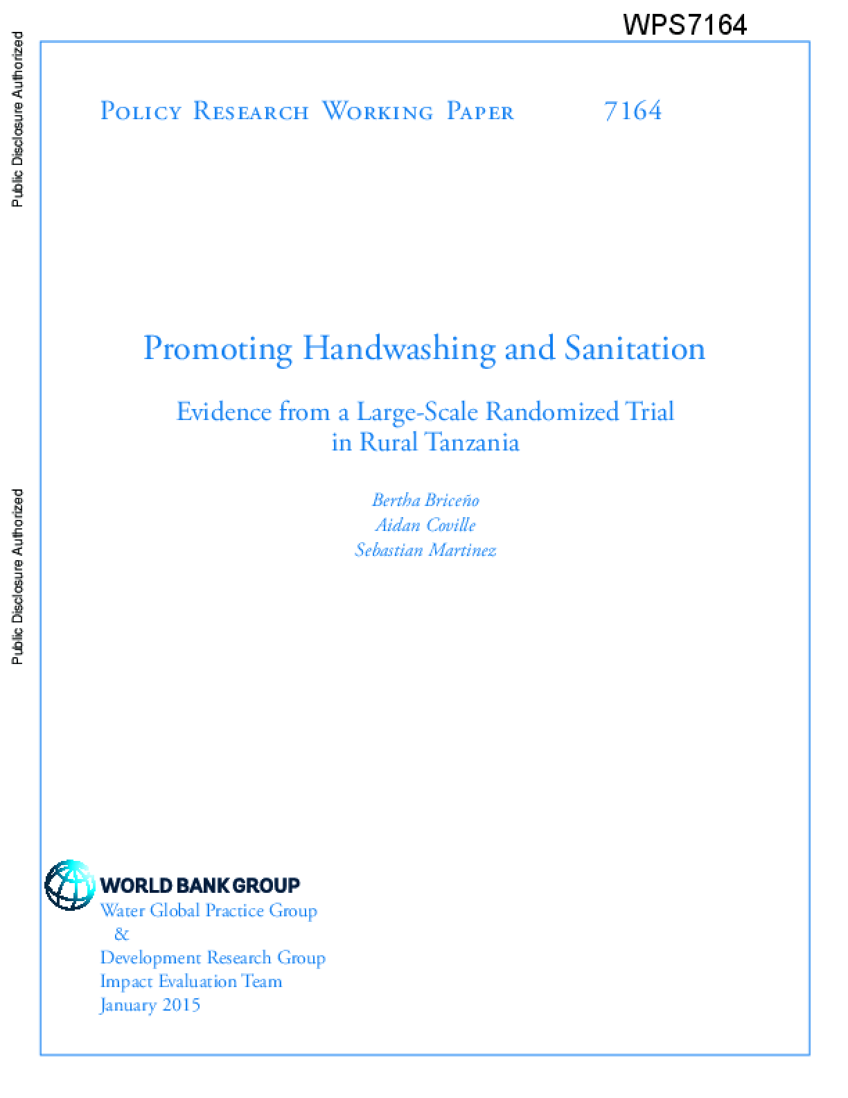 Promoting Handwashing and Sanitation: Evidence From a Large-Scale Randomized Trial in Rural Tanzania