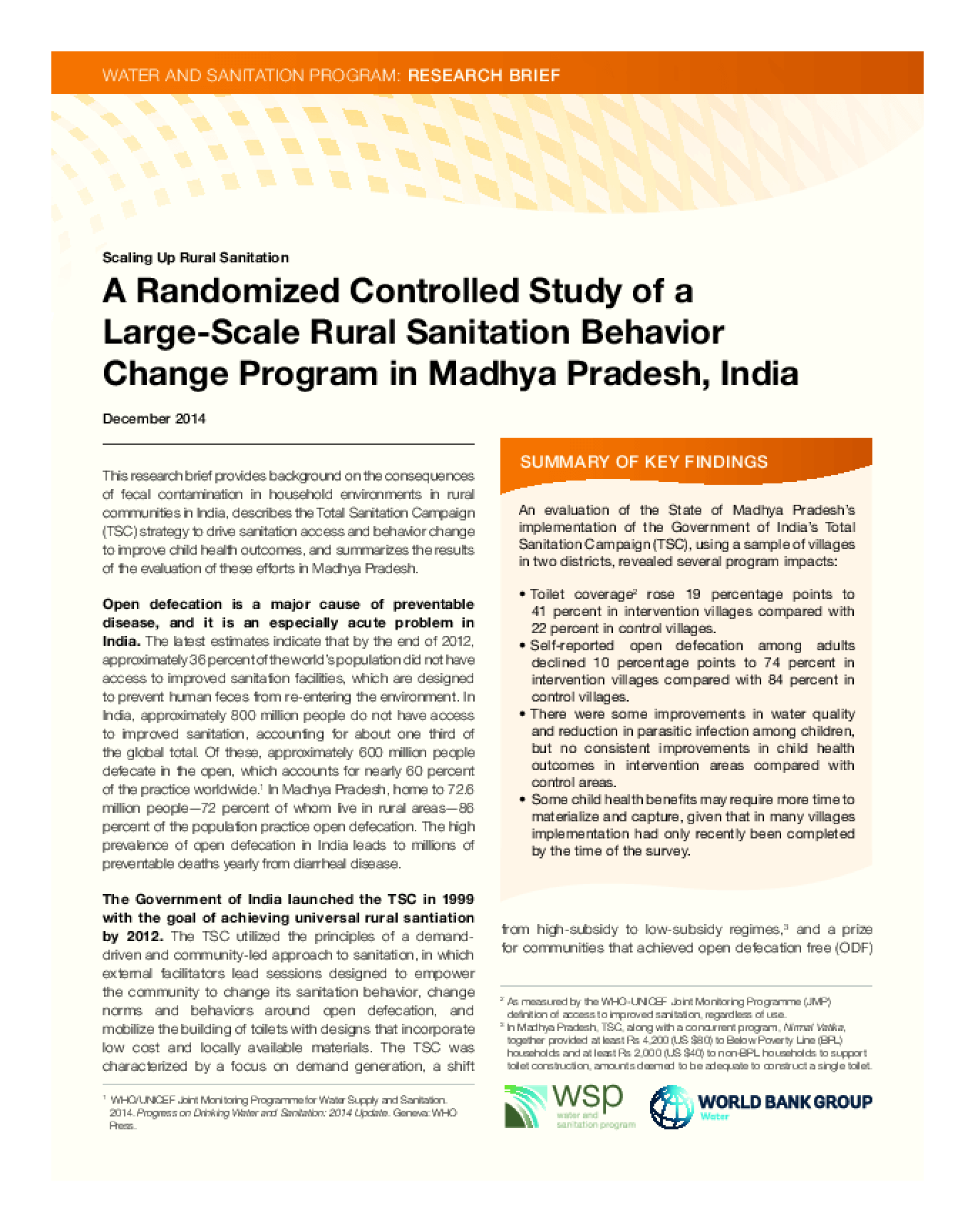 A Randomized Controlled Study of a Large-Scale Rural Sanitation Behavior Change Program in Madhya Pradesh, India