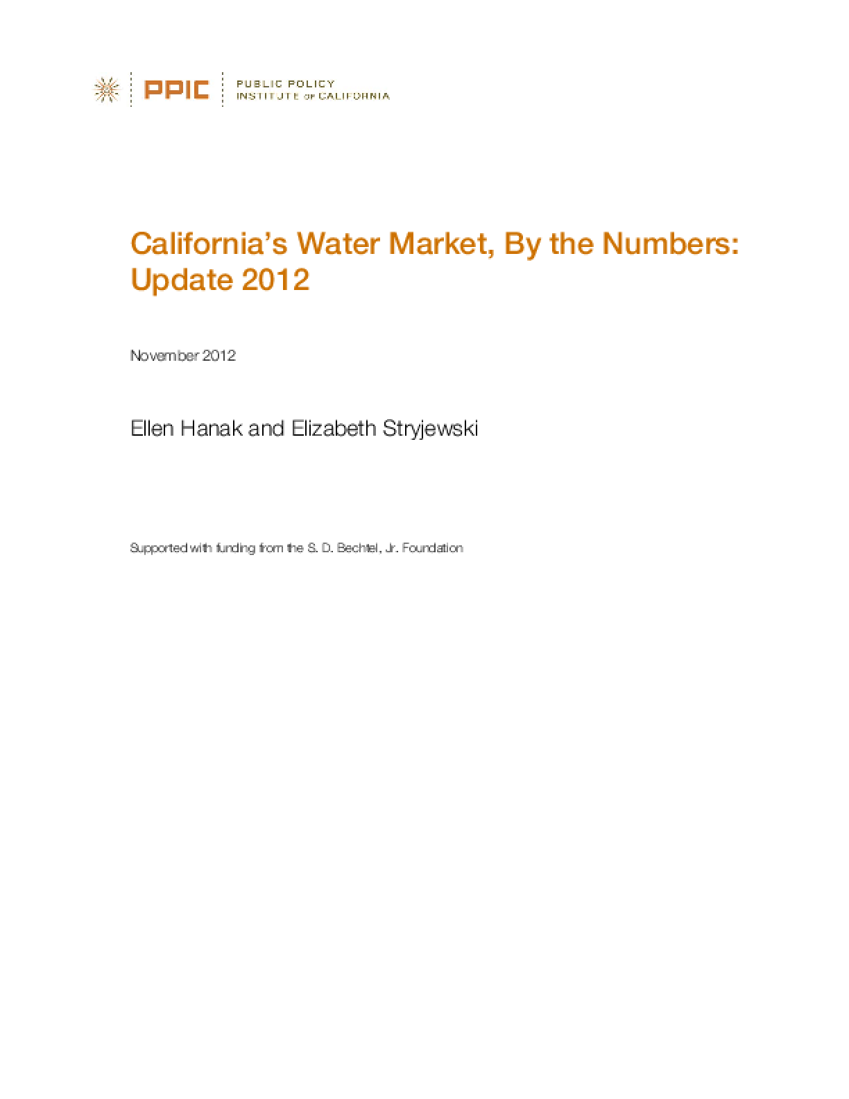 California's Water Market, By the Numbers: Update 2012