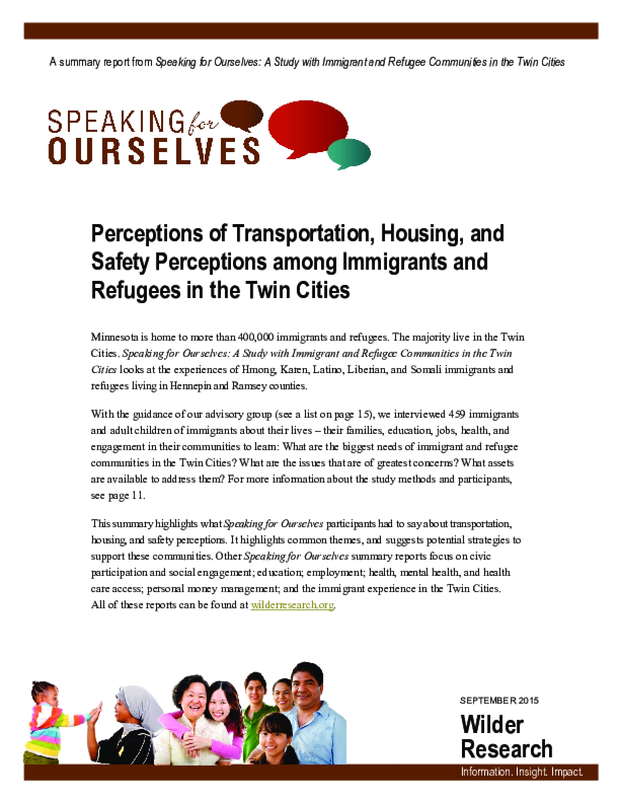 Speaking for Ourselves: Perceptions of Transportation, Housing, and Safety Perceptions among Immigrants and Refugees in the Twin Cities