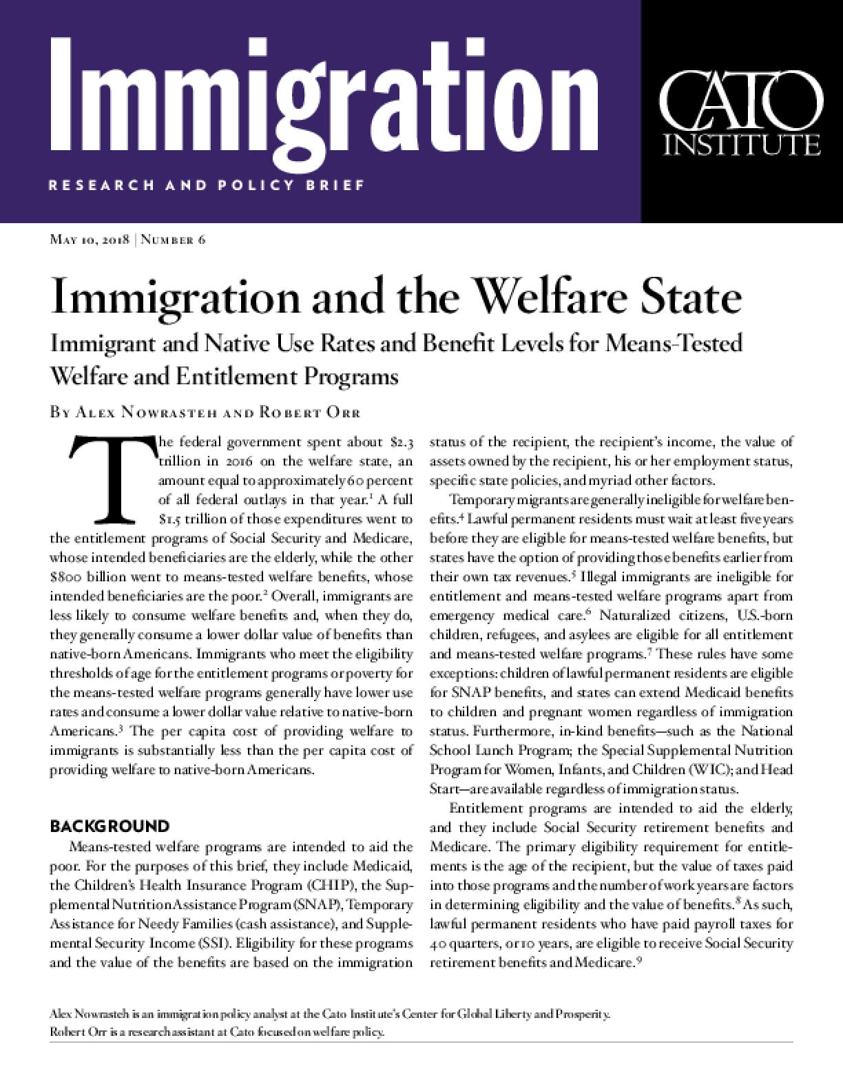 Immigration and the Welfare State: Immigrant and Native Use Rates and Benefit Levels for Means-Tested Welfare and Entitlement Programs
