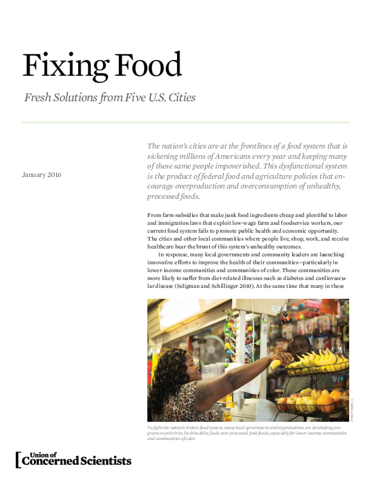 Fixing Food: Fresh Solutions from Five U.S. Cities (2016)