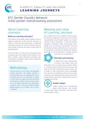 EFC Gender Equality Network: Initial Gender Mainstreaming Assessment