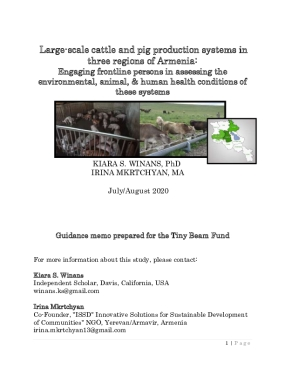 Large-scale cattle and pig production systems in three regions of Armenia: Engaging frontline persons in assessing the environmental, animal, & human health conditions of these systems