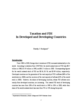 Taxation and FDI In Developed and Developing Countries